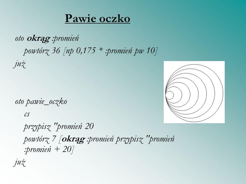 Pawie oczko oto okrąg :promień powtórz 36 [np 0,175 * :promień pw 10]